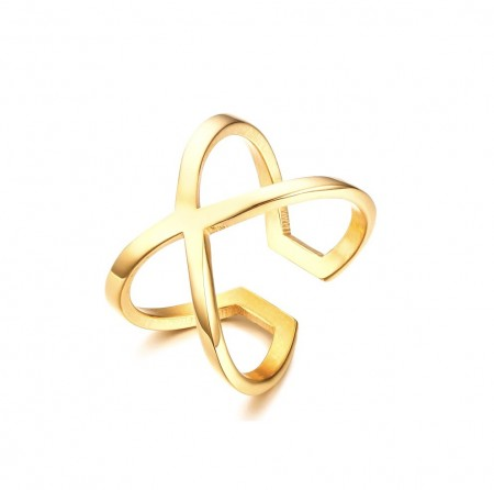 JT - Gold plated cross ring