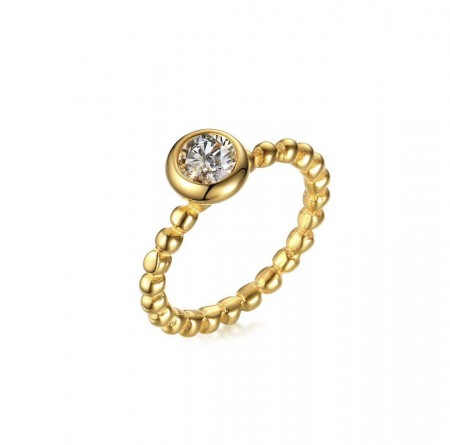 JT - Gold plated ring med CZ